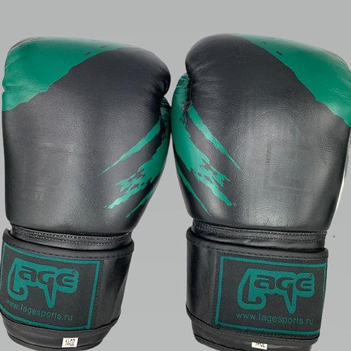 Боксерские перчатки, LAGE BGL006BKGRN, черно-зеленый, кожа