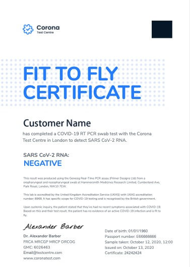 PCR+IgM Next Day+ Fit to Fly Certificate