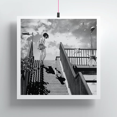 Stairs and cat - Square Print