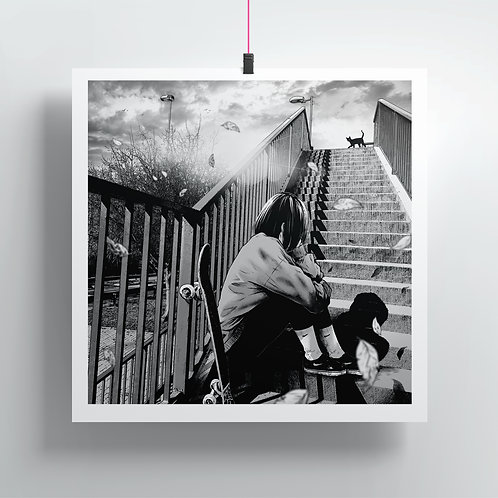 Stairs and sad - Square Print