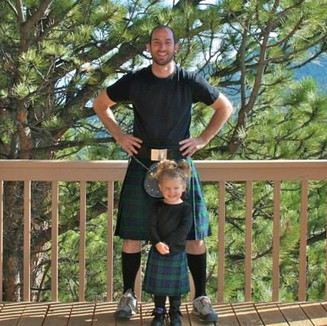 Uncle Andy and Tyla sporting their tartans!