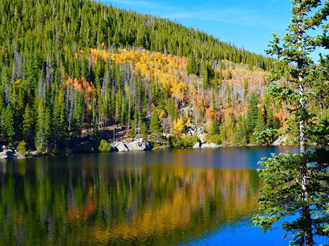 Autumn reflection at Bear Lake, Rocky Mountain National Park