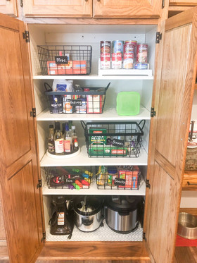 Pantry, wire baskets, labels