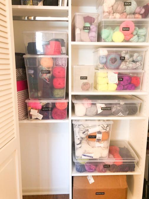 Yarn storage, craft storage, clear bins, simple labels