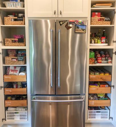 Large pantry, baskets, labels