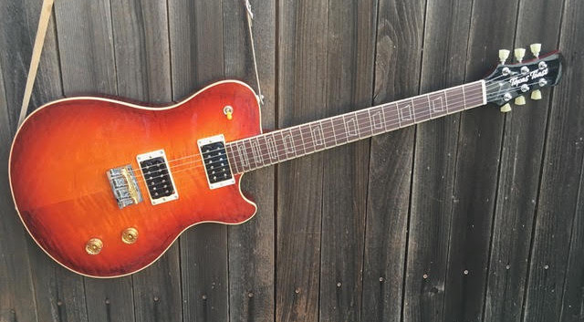 "Bret Hagen's Challenger with Ghost Inlays... Mahogany back and neck, flame maple top, black poisonwood fretboard.  24.75"" scale  TTG bridge, Hipshot tuners, Seymour Duncan pickups, independant volume controls (no tone controls)  The Specs Don't Really Matter Since We Can Do Anything You Want."