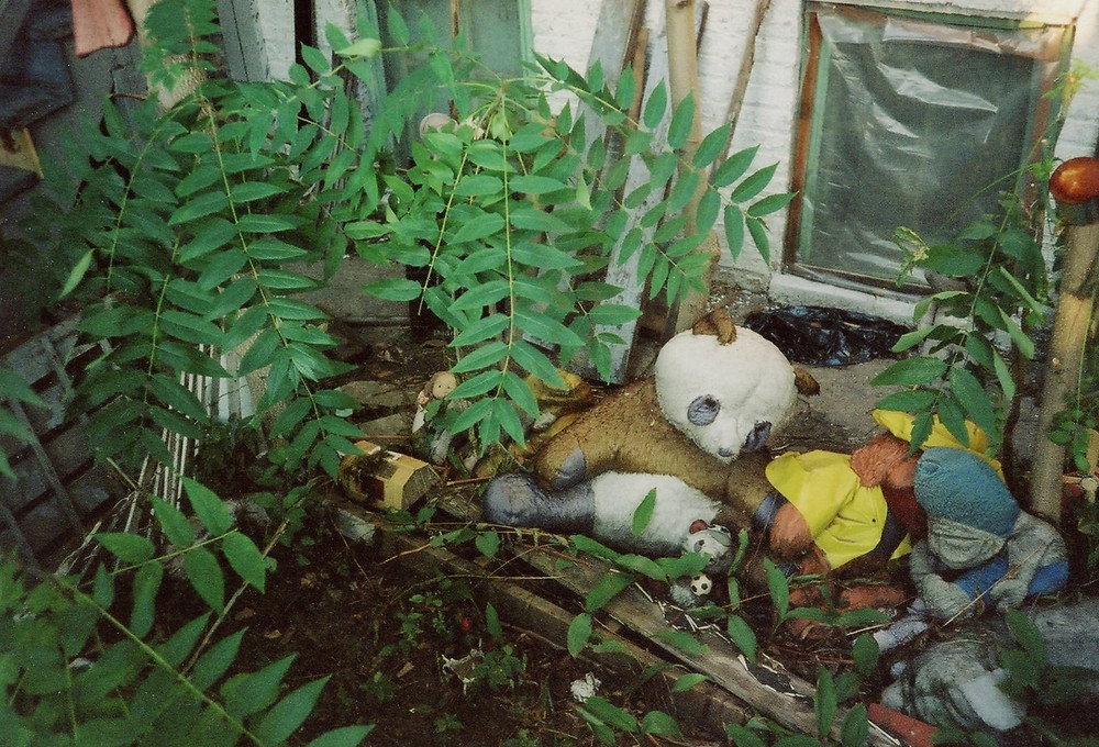stuffed animals sitting outside urban building with overgrown green plants around them