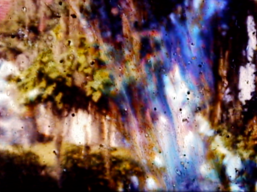 abstract image of blue purple streaks in front of green, white, and brown hues