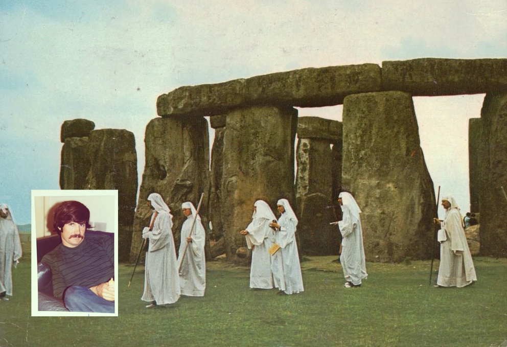 postcard of Stonehenge with white robed people with collage image of white man holding a small plastic toy