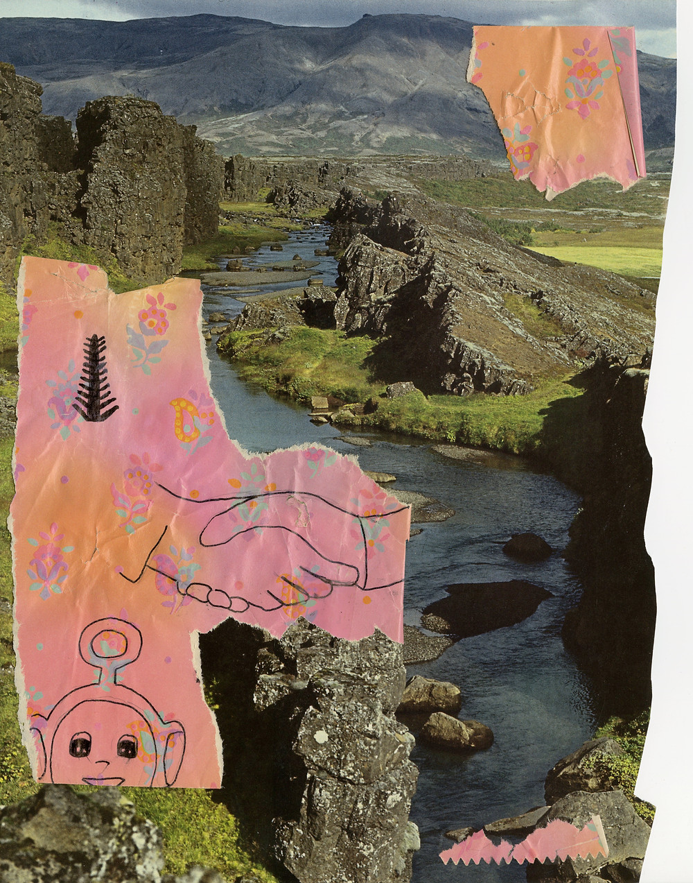 collage of river winding through green landscape with handrawn images of hands shaking, a teletubby, and an abstract tree of life