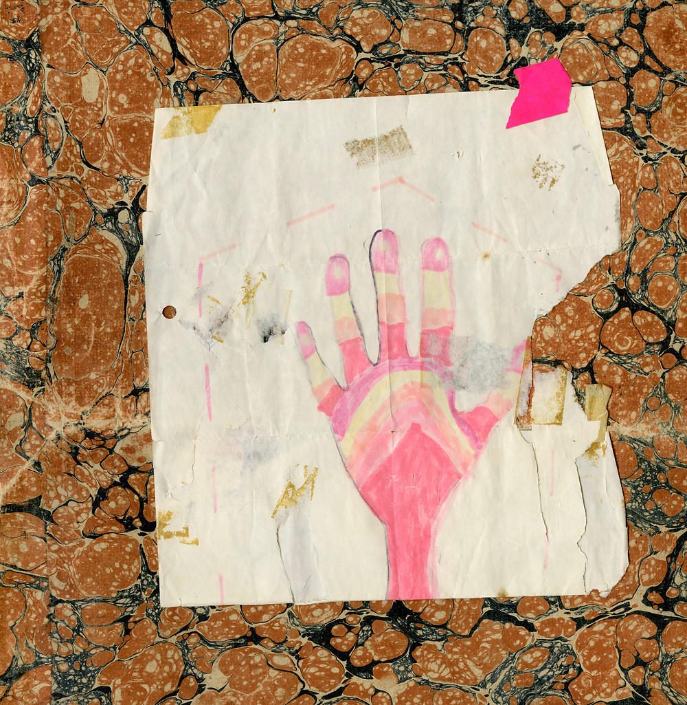 collage of a pink and orange colored hand drawn by a child on top of marbled paper