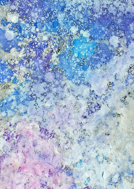 The world in quiet meditation 16-06   - a feeling of water -   8.2×15.9cm Lokuta paper,Gesso,Transparent watercolor,Enamel paint,Panel 2016