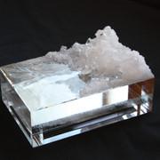 mizukagami  10.0×14.8×4.7cm Acrylic cube,Salt,Silicon, Acrylic half mirror plate 2018