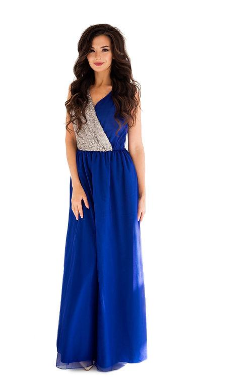 Платье синее с серебристыми пайетками на груди