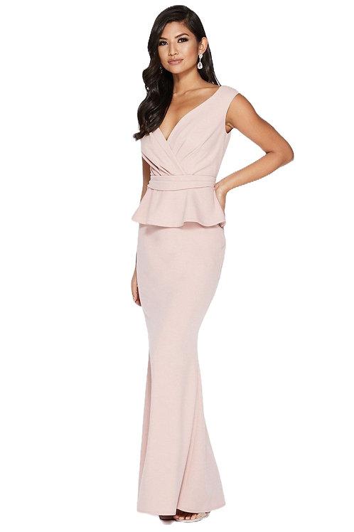 Платье нежно-розовое с баской