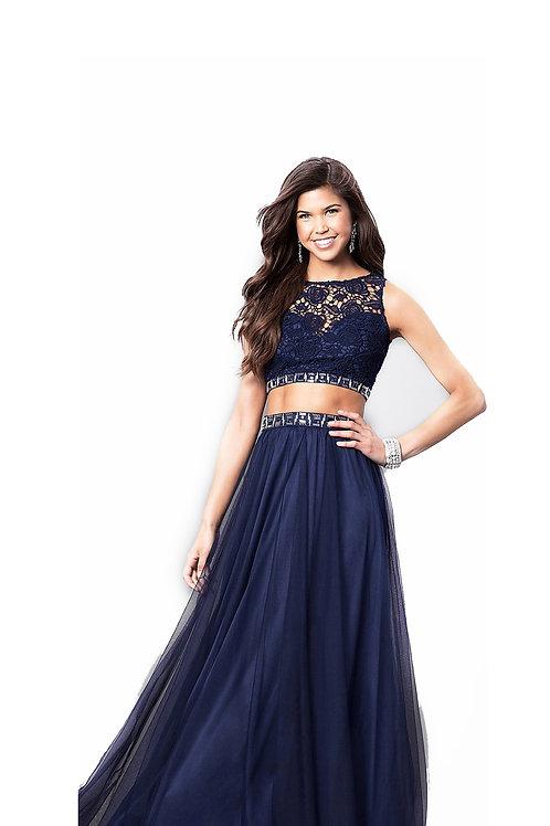 Платье благородного синего цвета, состоящее из двух частей