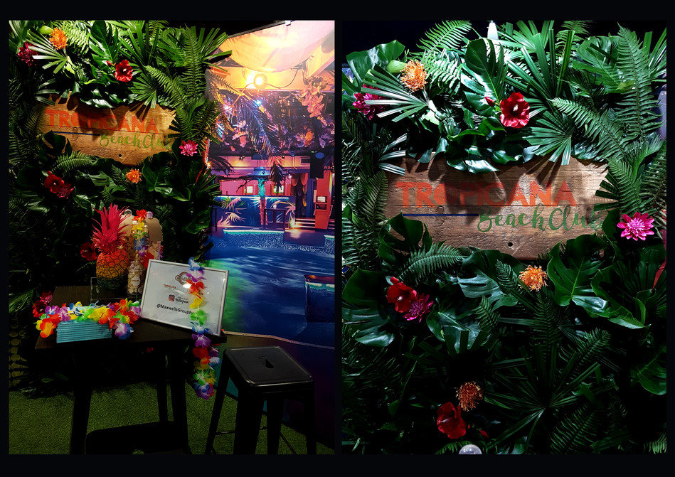 Journey Events, Tropicana Beach Club stand at 'The London Summer Events Show'; Role: Garden wall set dresser
