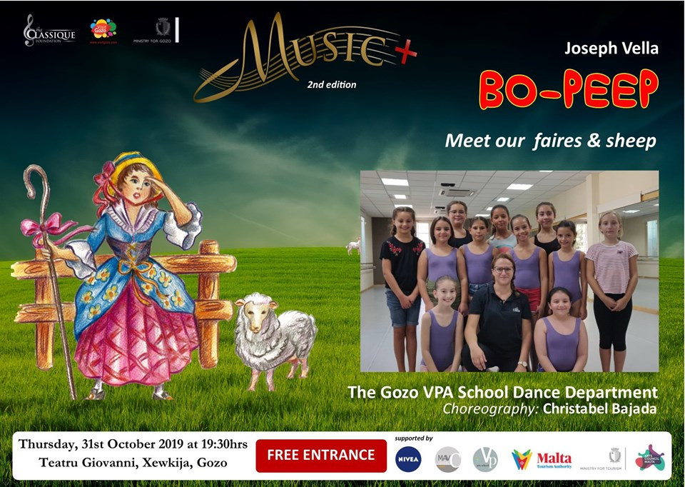 MUSIC+ Bo-Peep, a little, little opera for children by Joseph Vella. Thursday 31st October 2019 at 9:30hrs at Teatru Giovanni, Xewkija. Free Entrance. Reservations: musicplusgozo@gmail.com — with Christabel Bajada.