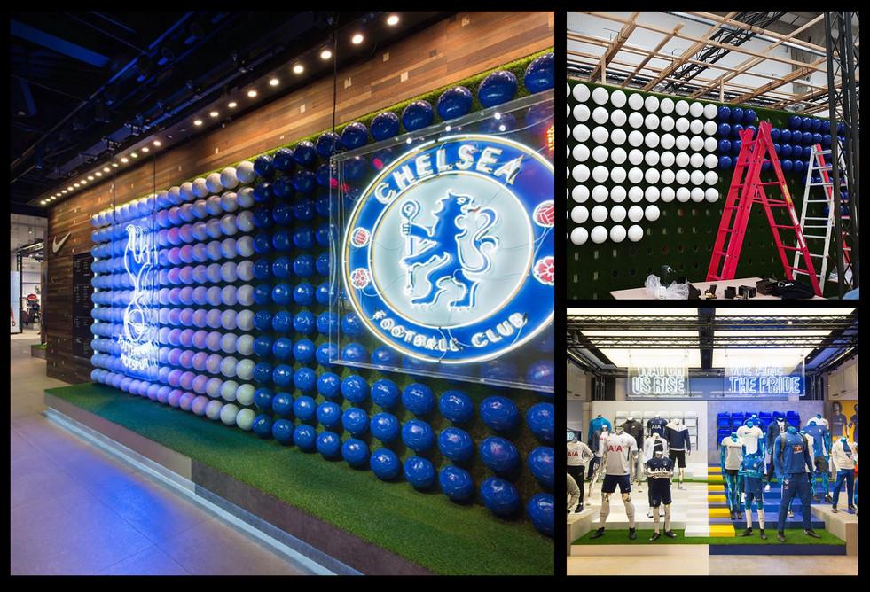Nike Town, Chelsea & Tottenham new kit launch; Role: set dresser