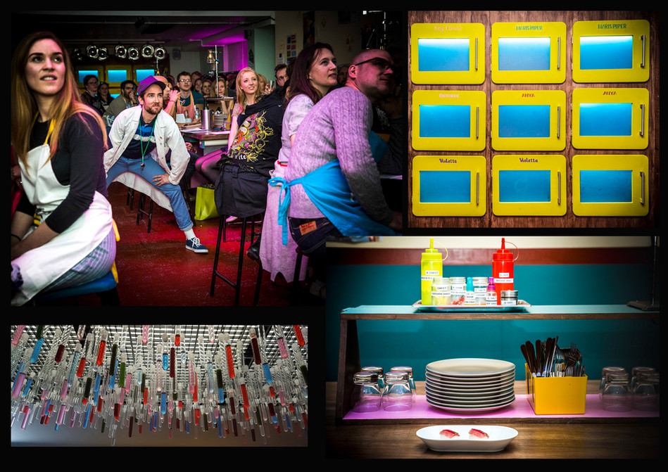 Gingerline, 'Faculty of Eatucation' immersive dining experience; Role: Set dresser & painter