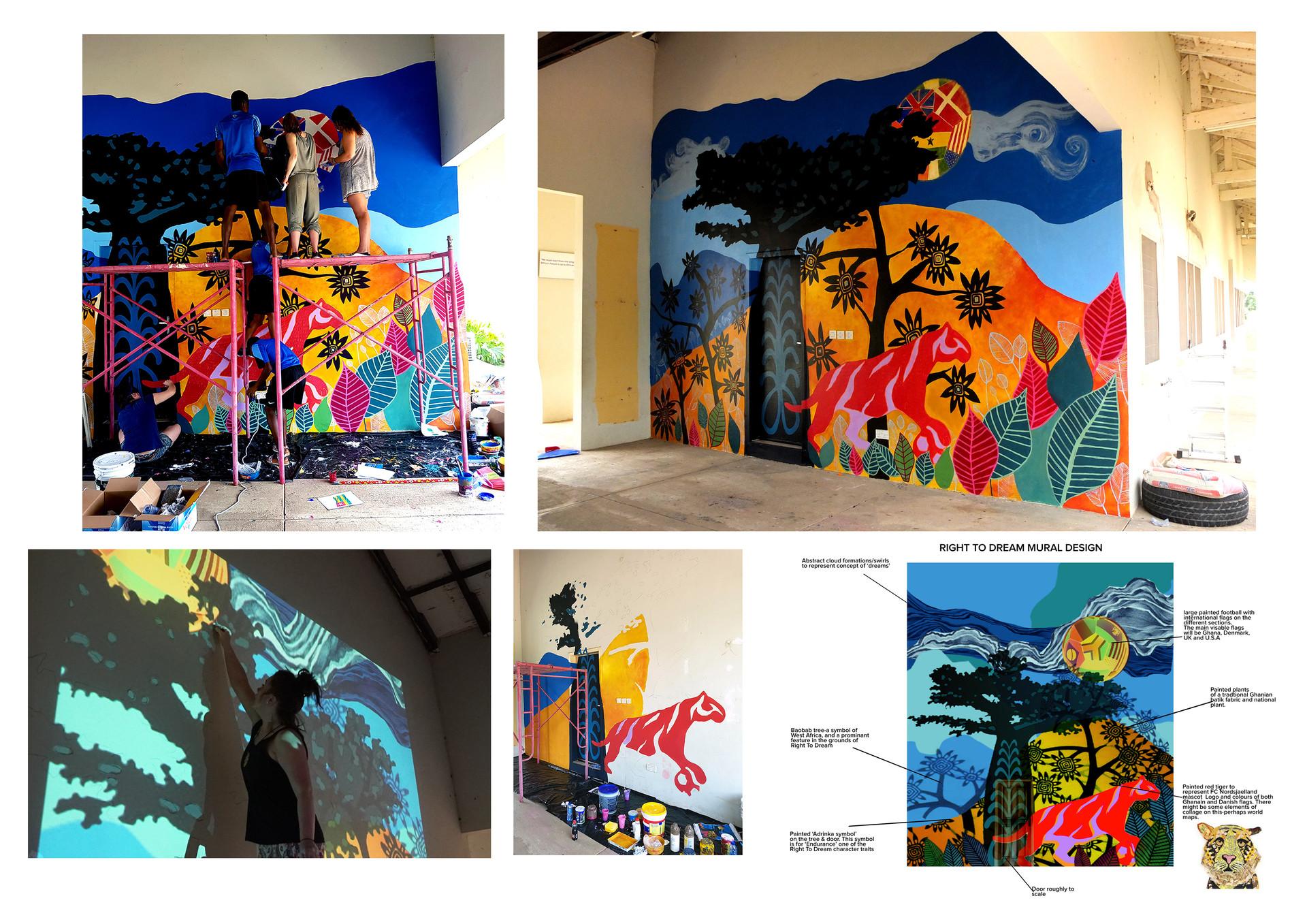 Right to Dream Football Academy, Ghana, mural design, Feb 2017