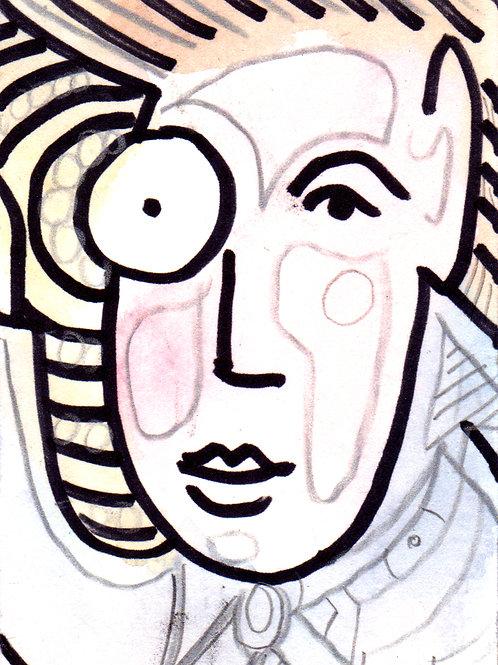 Young Dr. Monocle Original Watercololor Sketch