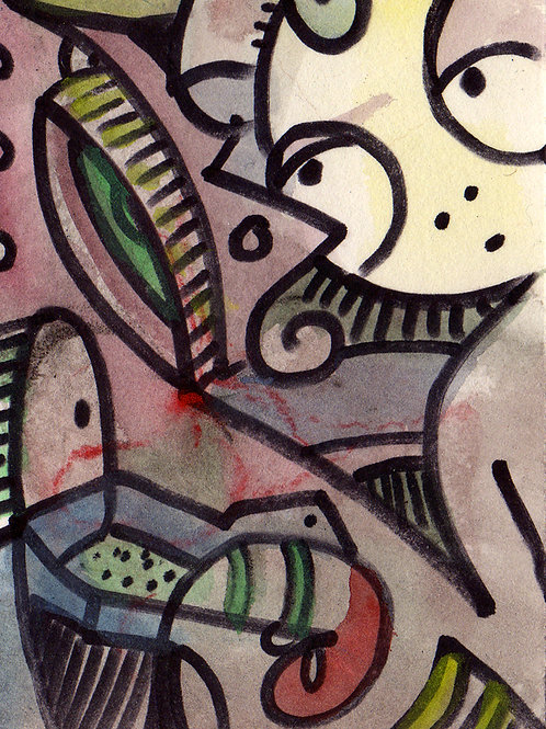 Looking Around Small Original Watercololor Sketch