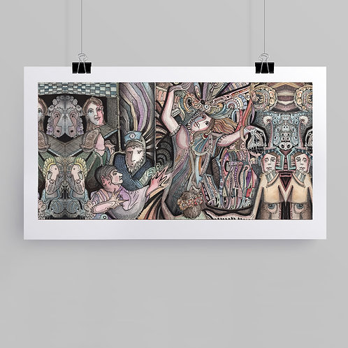 """""""Oracle"""" art print of original ink and watercolor painting by Justin Potts; people in abstract scene"""