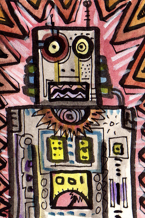 Robo-Pal Malfunction Original Watercololor Sketch