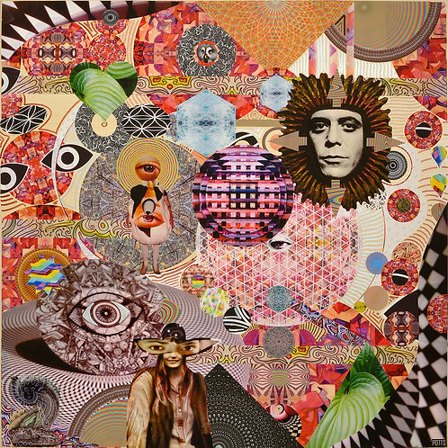 """Lou Forever"" original mixed media art on wood featuring Lou Reed in a psychedelic field of wonder; geometric, collage, eyes"