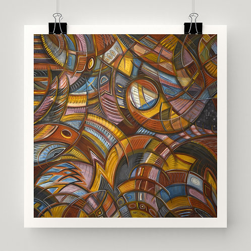"""With Bird Biting Shirt Sleeve"" fine art print of original abstract art, canvas painting by Justin Potts"