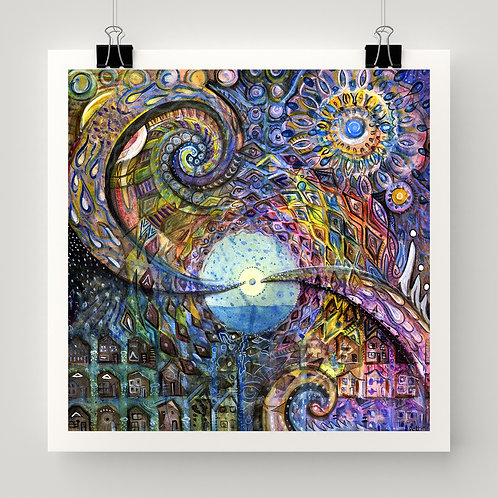 """""""Water Consciousness"""" fine art print of original watercolor and ink painting by Justin Potts; visionary art, rain, swirls"""