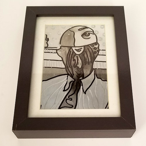 """Roger Complex"" framed original art by Justin Potts; black ink over metallic print of original collage art."
