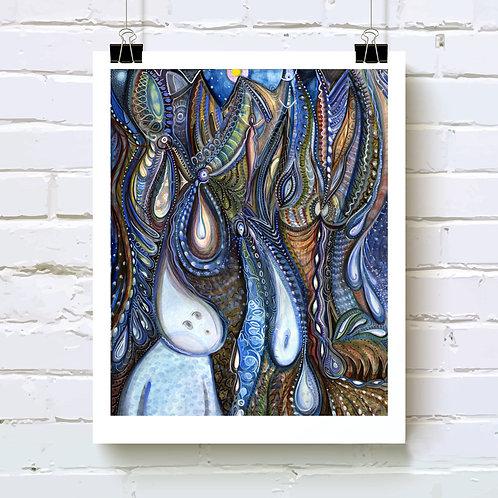 Dewdrop Meets the Rain Art Print