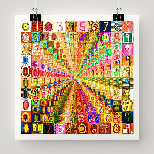 """1000 Numbers"" fine art print of original mixed media art by the Potts Family; abstract, numbers, math art"