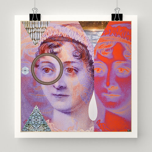 """""""Jane Changer"""" art print of original collage, Jane Austen, colorful abstract patterns by Justin Potts"""