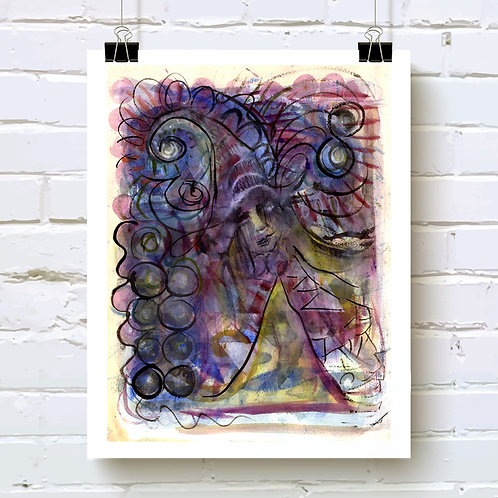 """Witchy Poo"" fine art print based on original abstract watercolor painting with ink line drawing by Justin Potts"
