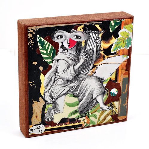 Muse on the Move Original Collage on Mahogany Wood Block