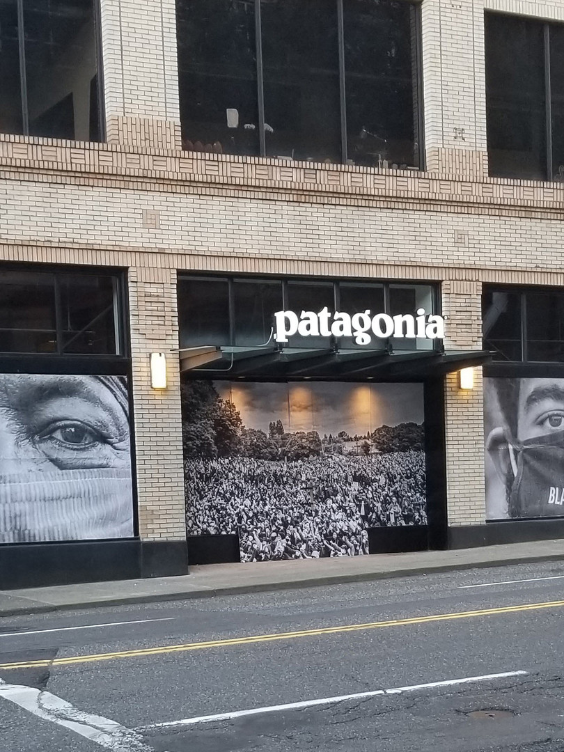 Patagonia street art install for Josue Rivas during protests