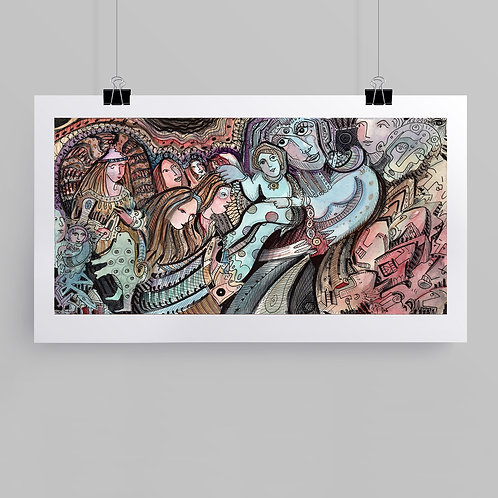 """""""Saving Graces"""" fine art print of original ink and watercolor painting by self-taught artist Justin Potts"""