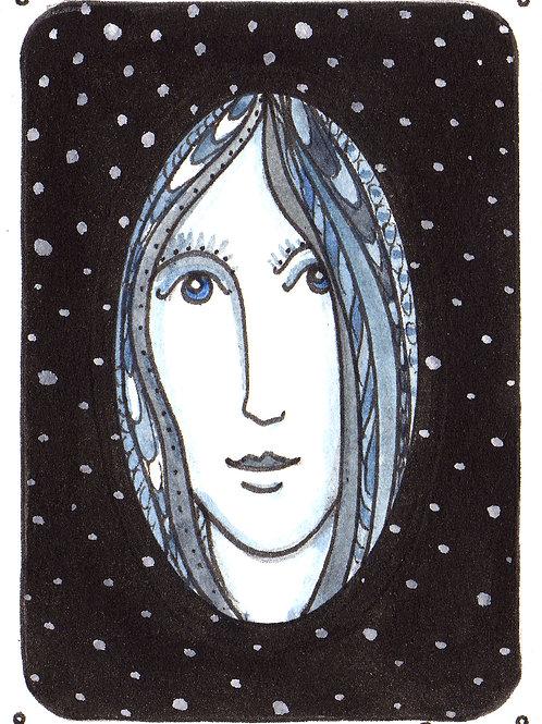 Blue Girl Original Watercololor Sketch