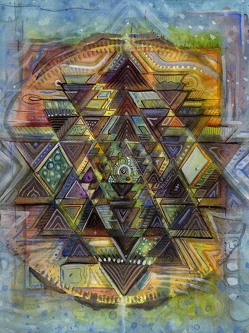 """Water Yantra"" original watercolor painting by Justin Potts; sri yantra symbol, meditation, spiritual art"