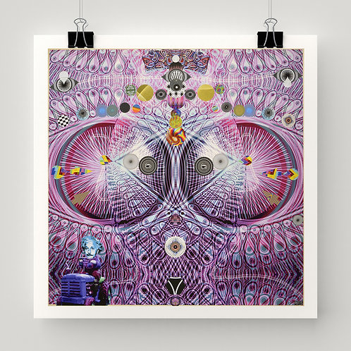 """Listen for Your Ears with Your Eyes"" art print of original mixed media collage, psychedelic patterns, geometry, color"