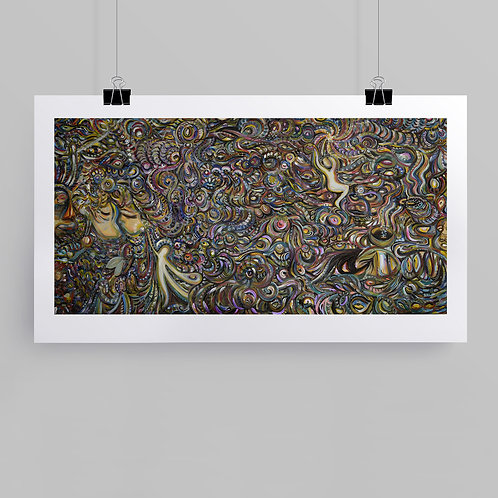 """""""Multi-Dimensional"""" fine art print of original mixed media painting on wood panel; intuitive art by Justin Potts"""