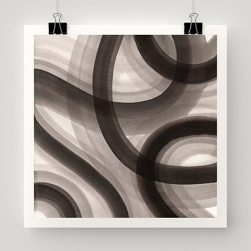 """Flow Lines"" fine art print of original painting by Justin Potts; bold lines in black white gray; intuitive art"