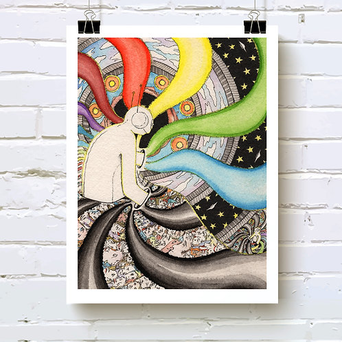 """""""World Spinners"""" fine art print of original ink and watercolor painting by self-taught artist, Justin Potts; rainbow, cosmos"""
