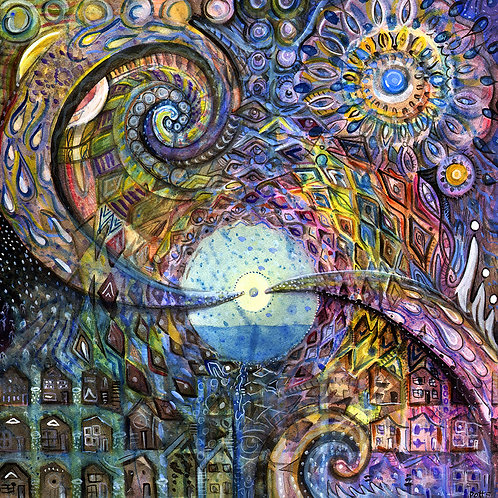 """Water Consciousness"" fine art print of original watercolor painting by Justin Potts; rainbow, spiral, visionary art"