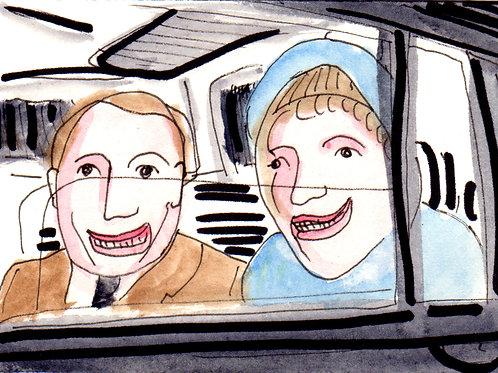People in a Car Original Watercololor Sketch
