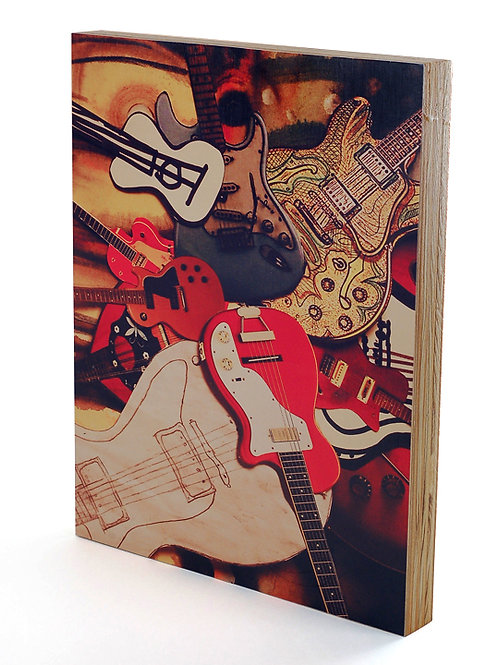 Pile of Guitars Collage Art Print Mounted to Deep Wood Panel