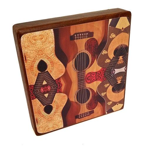 Guitar Reflections print on Mahogany Wood Block